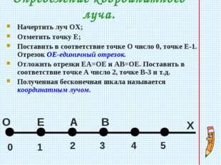 Определение координатного луча. Начертить луч ОХ; Отметить точку Е; Поставить