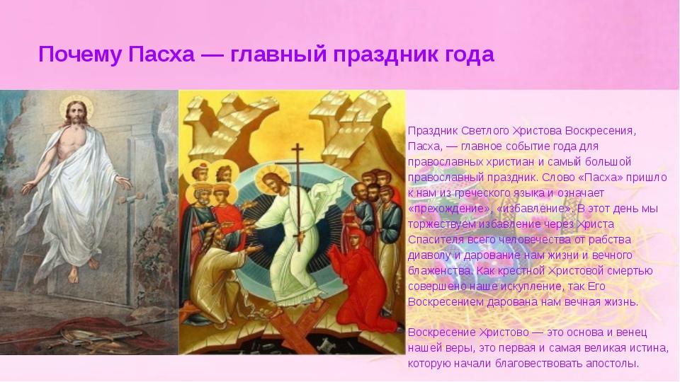 Почему Пасха — главный праздник года Праздник Светлого Христова Воскресения,...