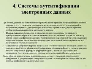 4. Системы аутентификации электронных данных При обмене данными по сетям возн