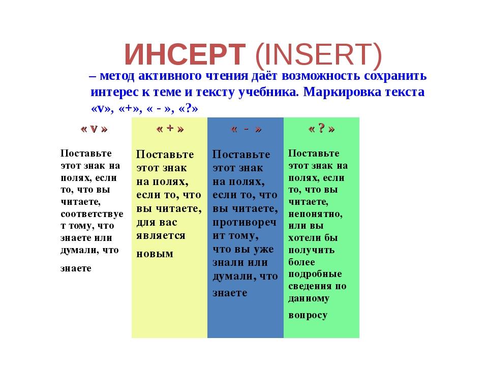 ИНСЕРТ (INSERT) – метод активного чтения даёт возможность сохранить интерес к...