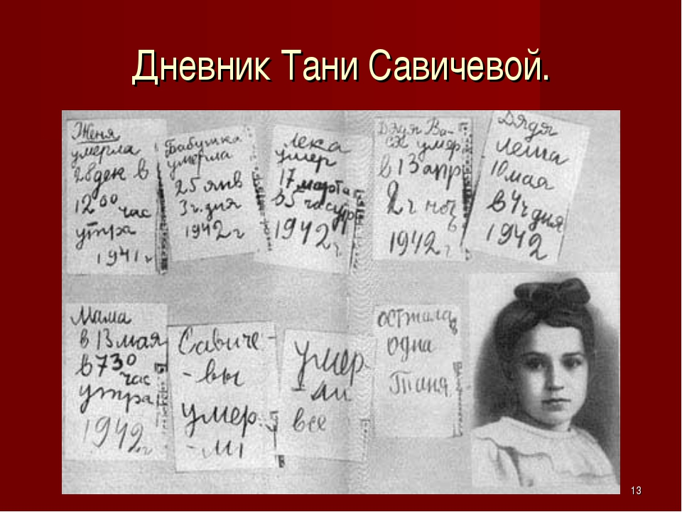 * Дневник Тани Савичевой.