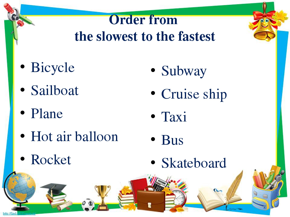 Order from the slowest to the fastest Bicycle Sailboat Plane Hot air balloon...
