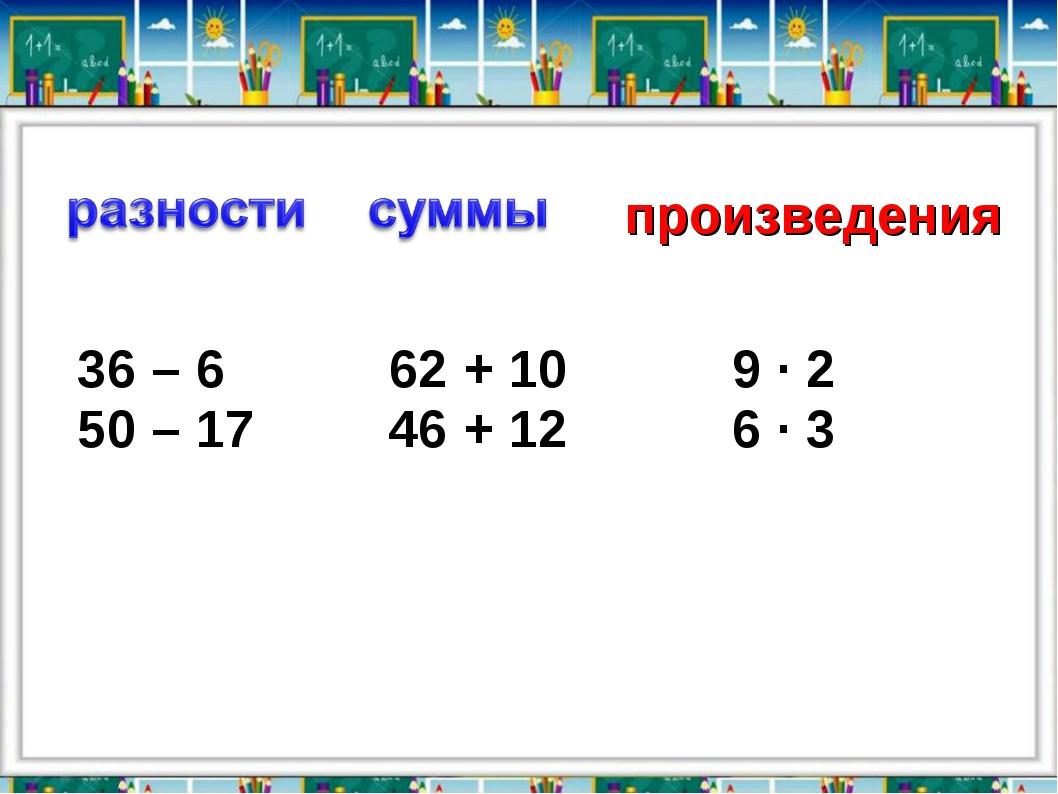 произведения 36 – 6 62 + 10 50 – 17 46 + 12 9 ∙ 2 6 ∙ 3