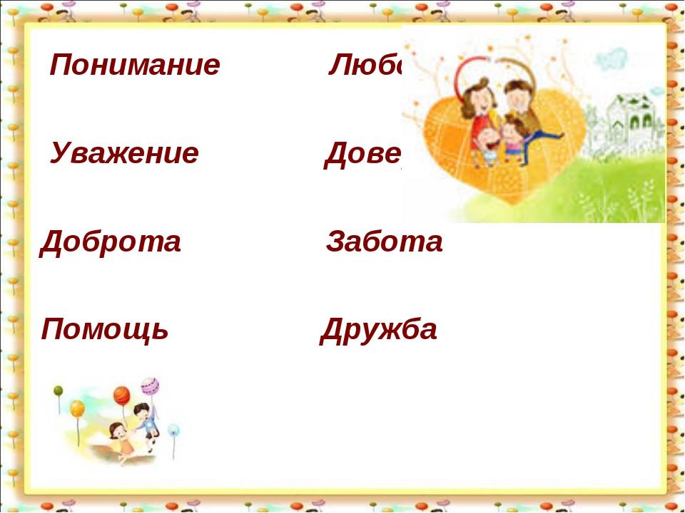 Понимание Любовь Уважение Доверие Доброта Забота Помощь Дружба http://aida.u...