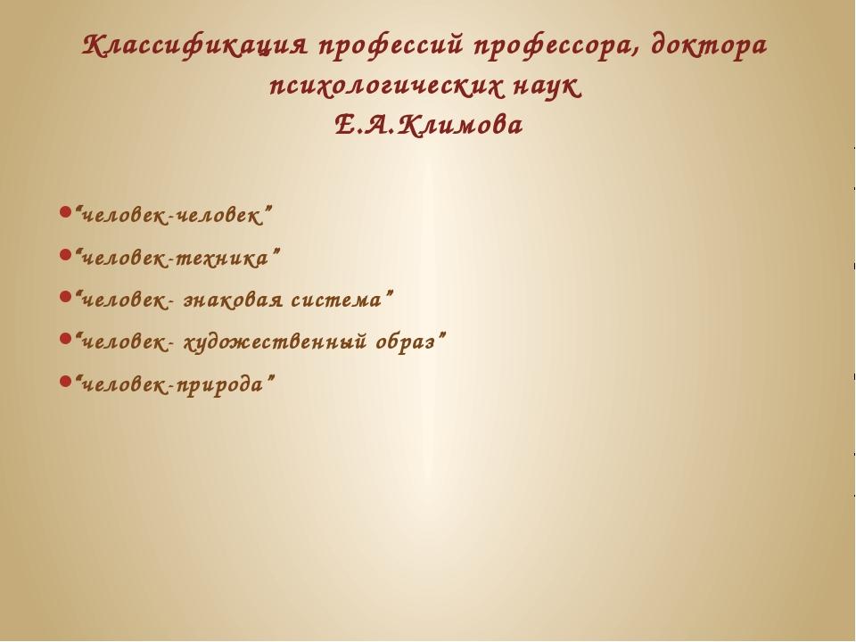 Классификация профессий профессора, доктора психологических наук Е.А.Климова...