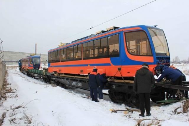 Сегодня днем в Набережные Челны прибыли новые трамвайные вагоны