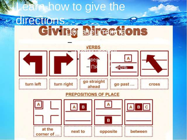 Learn how to give the directions