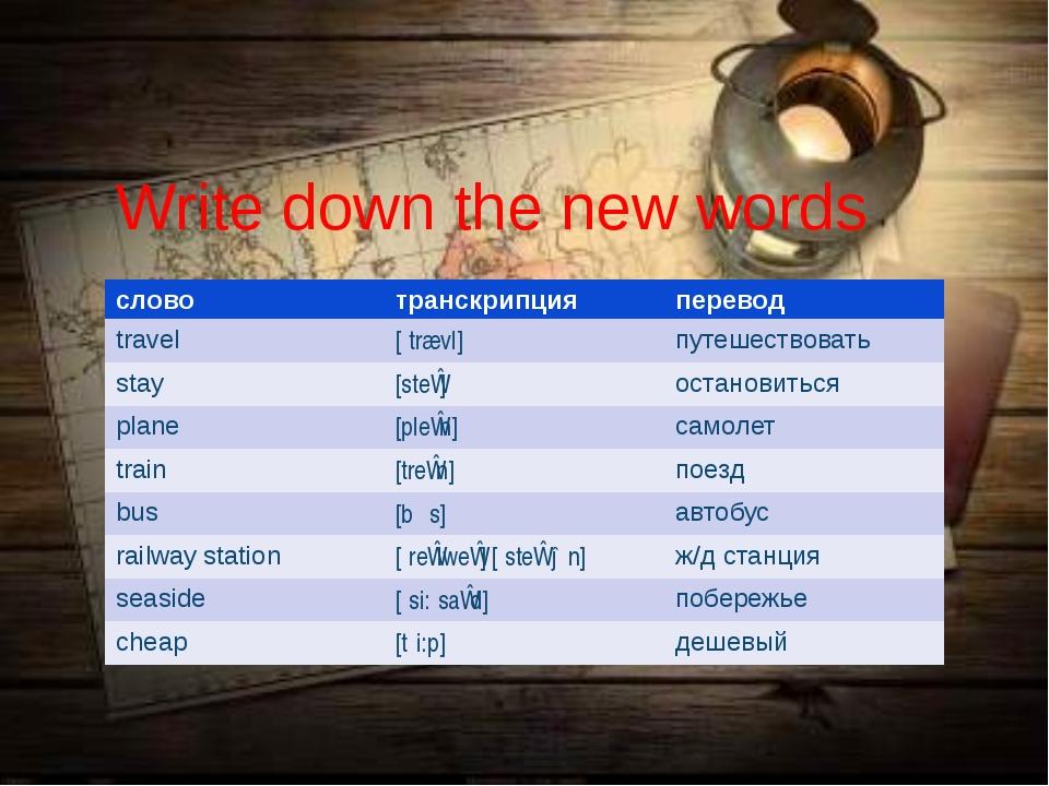 Write down the new words слово транскрипция перевод travel [ˈtrævl] путешеств...