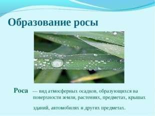 Образование росы Роса́— вид атмосферных осадков, образующихся на поверхности
