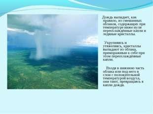 Дождь выпадает, как правило, из смешанных облаков, содержащих при температур
