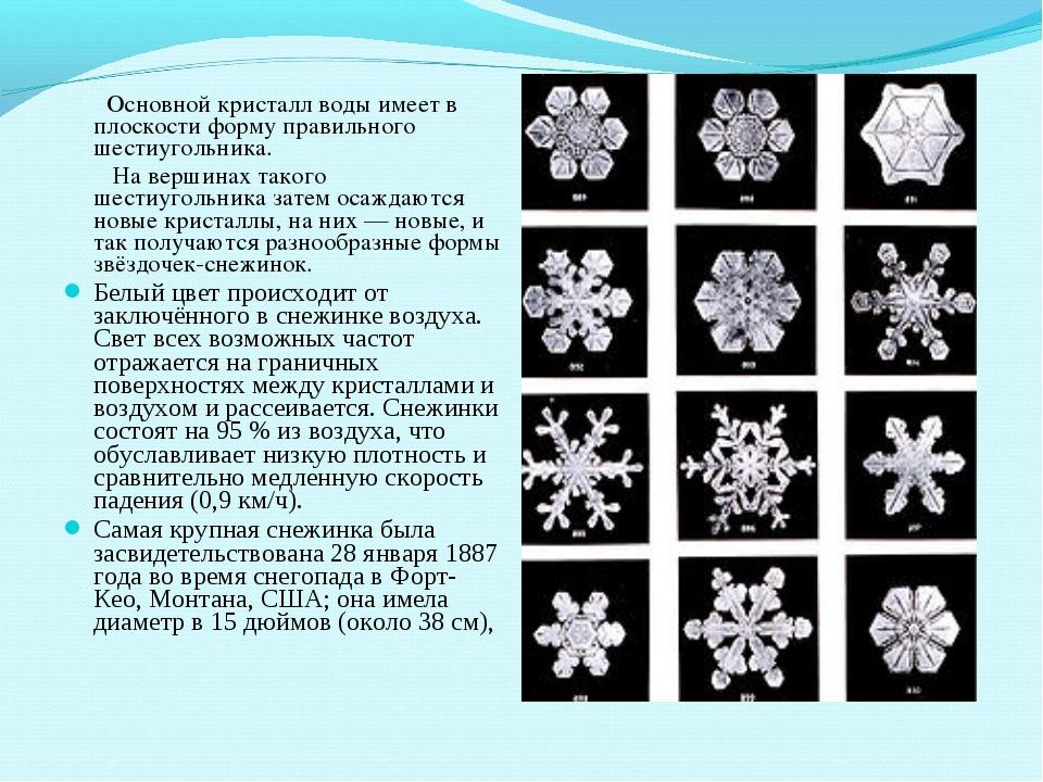 Основной кристалл воды имеет в плоскости форму правильного шестиугольника. Н...