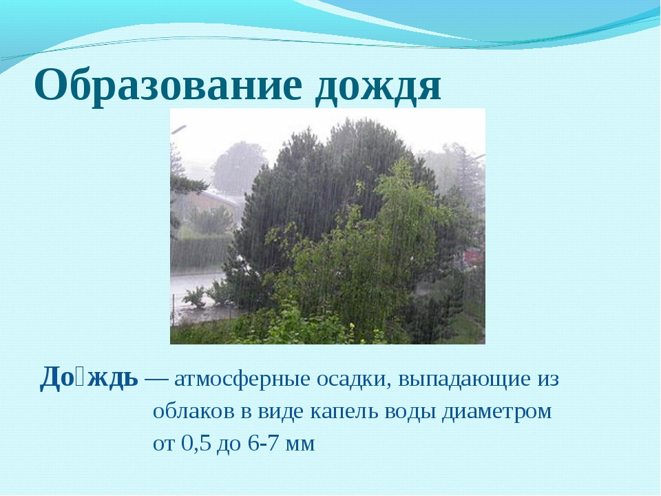 Образование дождя До́ждь— атмосферные осадки, выпадающие из облаков в виде к...