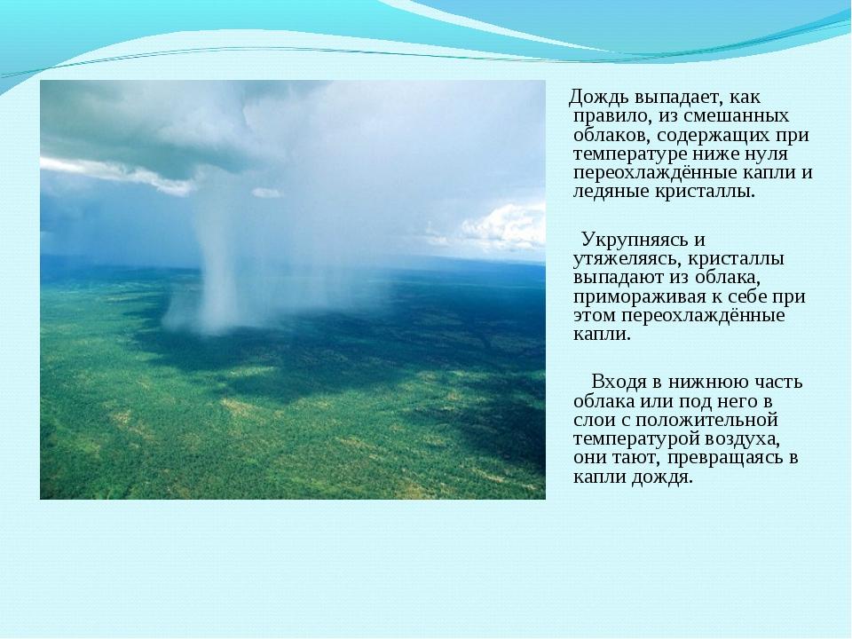 Дождь выпадает, как правило, из смешанных облаков, содержащих при температур...