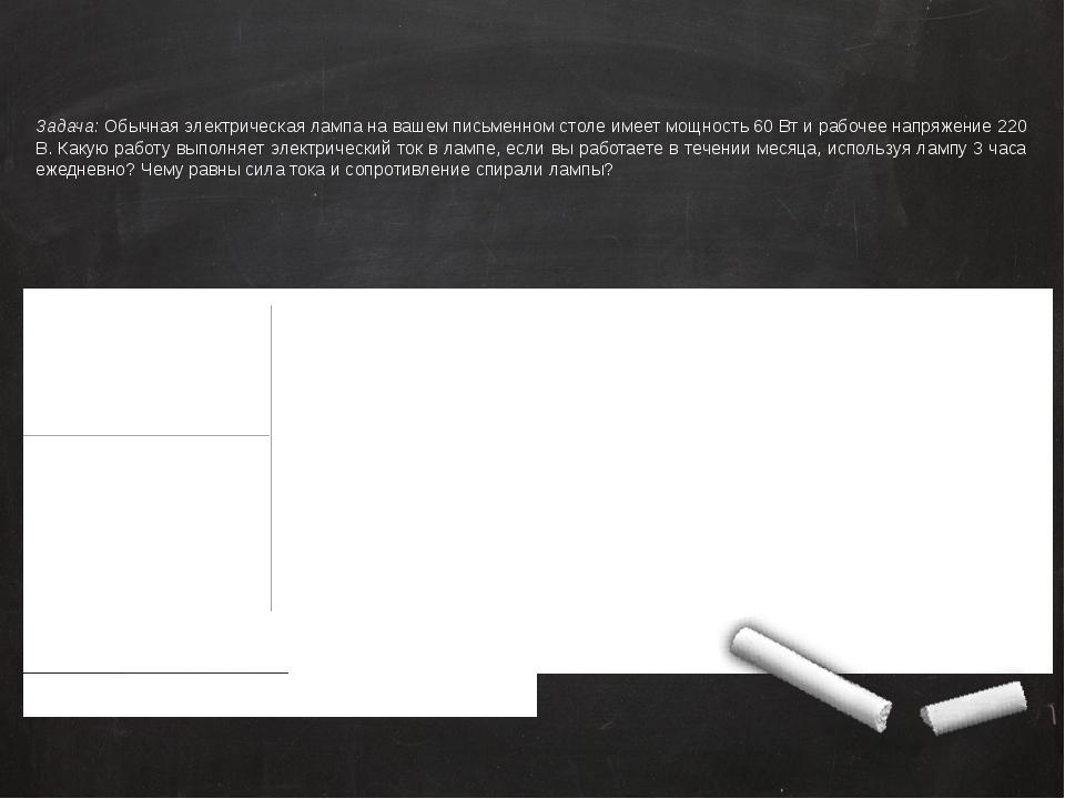Задача: Обычная электрическая лампа на вашем письменном столе имеет мощность...