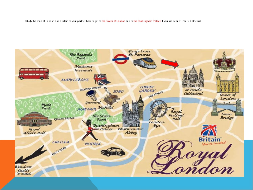 Study the map of London and explain to your partner how to get to the Tower...