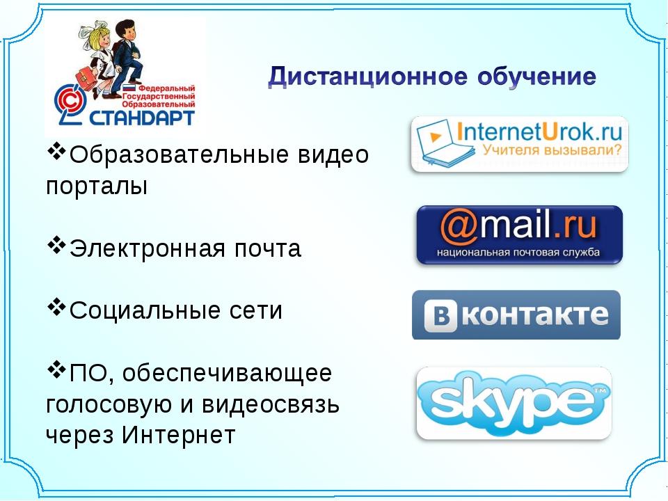 Образовательные видео порталы Электронная почта Социальные сети ПО, обеспечив...