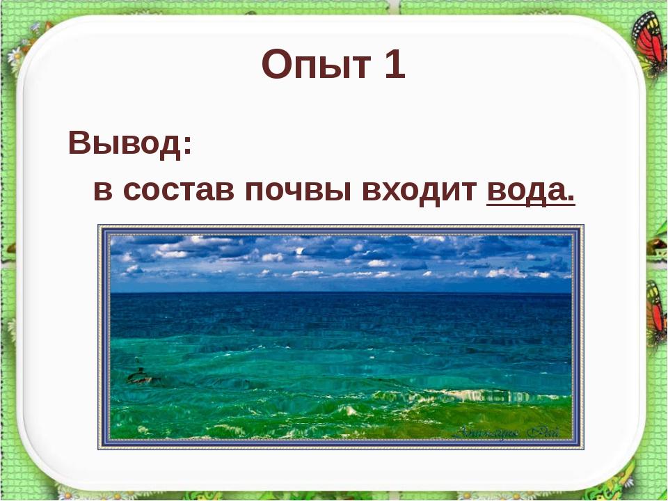 Опыт 1 Вывод: в состав почвы входит вода. http://aida.ucoz.ru