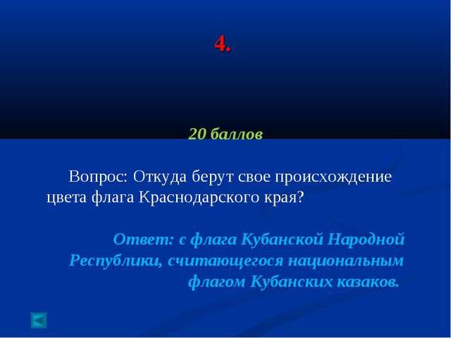 4. 20 баллов Вопрос: Откуда берут свое происхождение цвета флага Краснодарско...