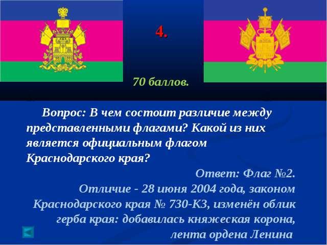 4. 70 баллов. 1. 2. Вопрос: В чем состоит различие между представленными флаг...