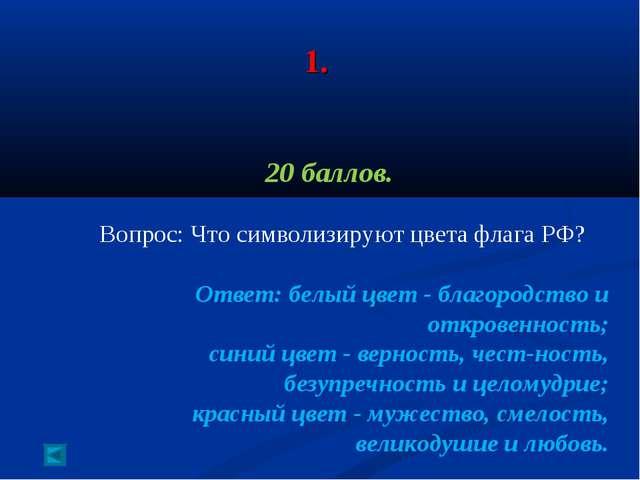 1. 20 баллов. Вопрос: Что символизируют цвета флага РФ? Ответ: белый цвет-...