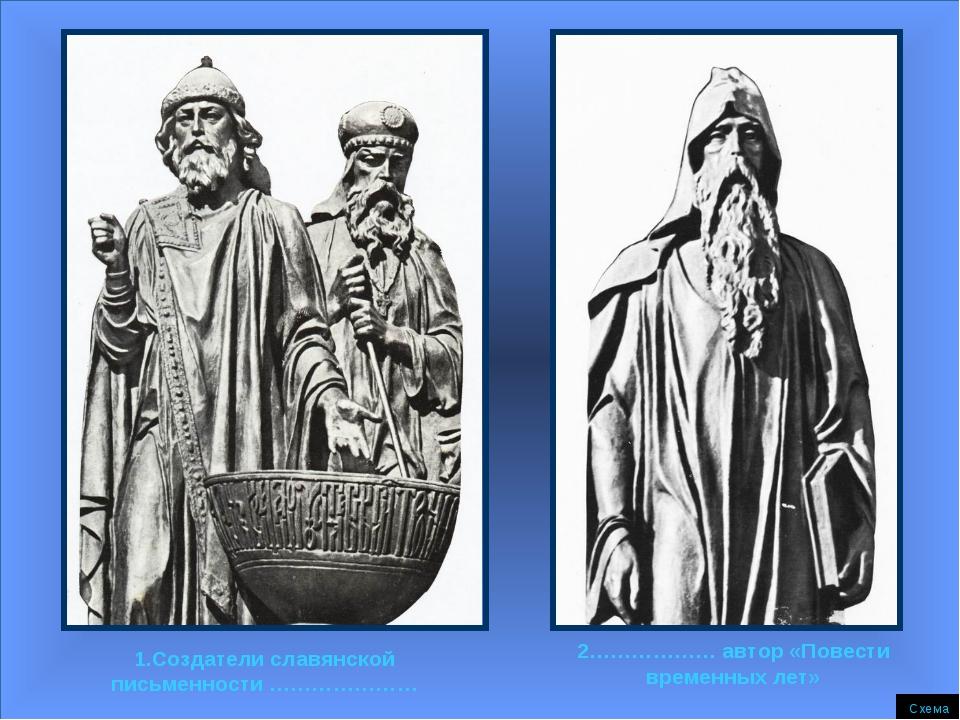 1.Создатели славянской письменности ………………… 2……………… автор «Повести временных...