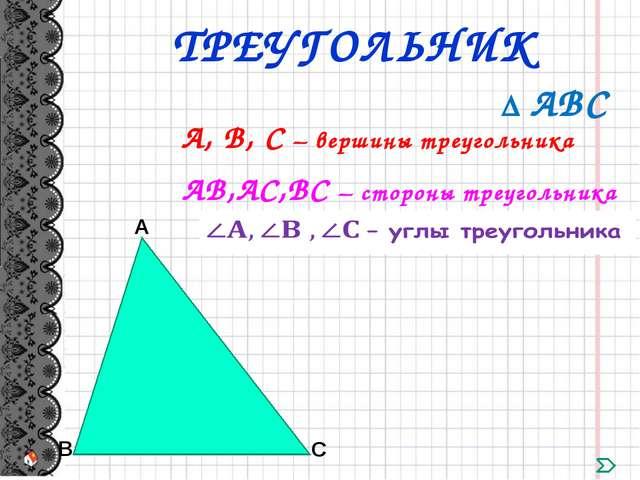 А, В, С – вершины треугольника ∆ АВС АВ,АС,ВС – стороны треугольника ТРЕУГОЛЬ...