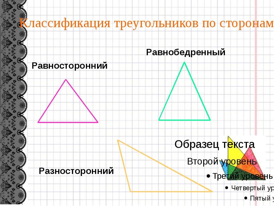 Равносторонний Равнобедренный Разносторонний Классификация треугольников по...
