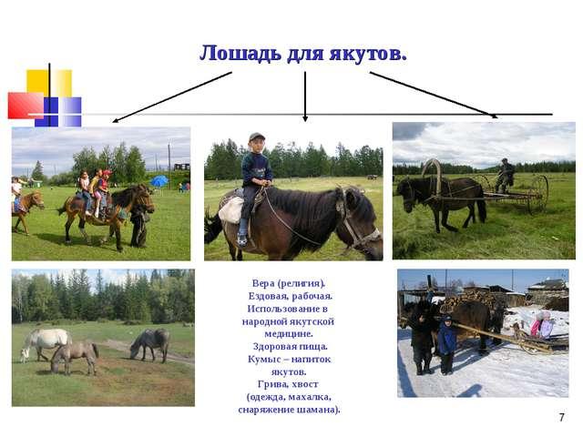 * Лошадь для якутов. Вера (религия). Ездовая, рабочая. Использование в народн...