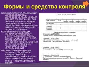 Формы и средства контроля включают систему контролирующих материалов (тестовы