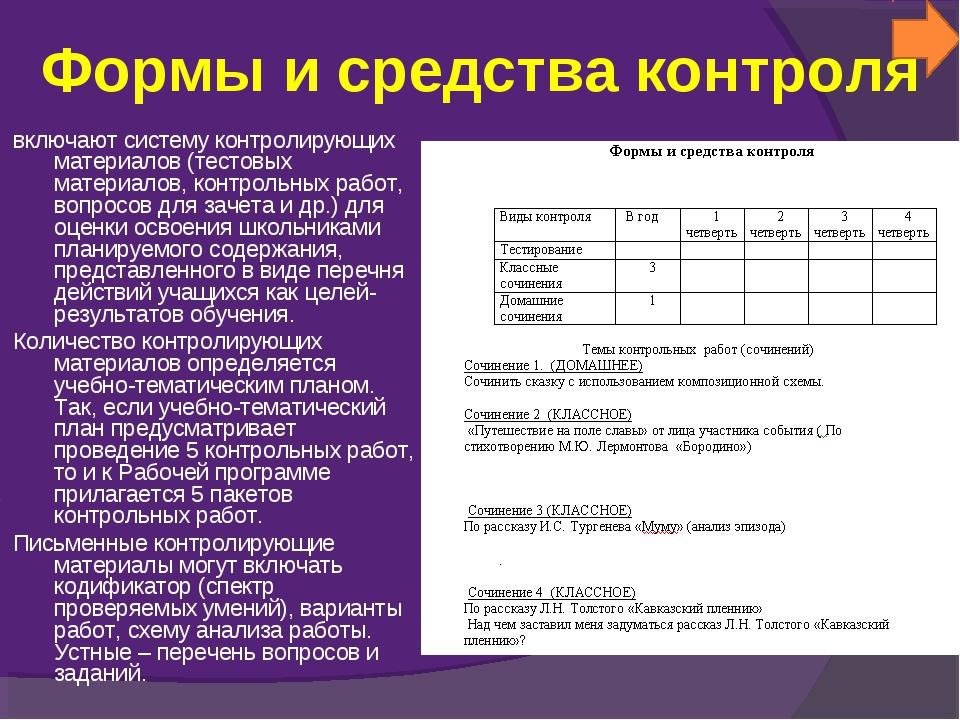 Формы и средства контроля включают систему контролирующих материалов (тестовы...
