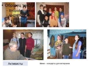 Мини – концерты для ветеранов Активисты