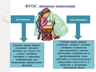 ФГОС второго поколения обучаемый обучающийся Главная задача школы: оснащение