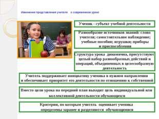 Изменение представления учителя о современном уроке Ученик - субъект учебной