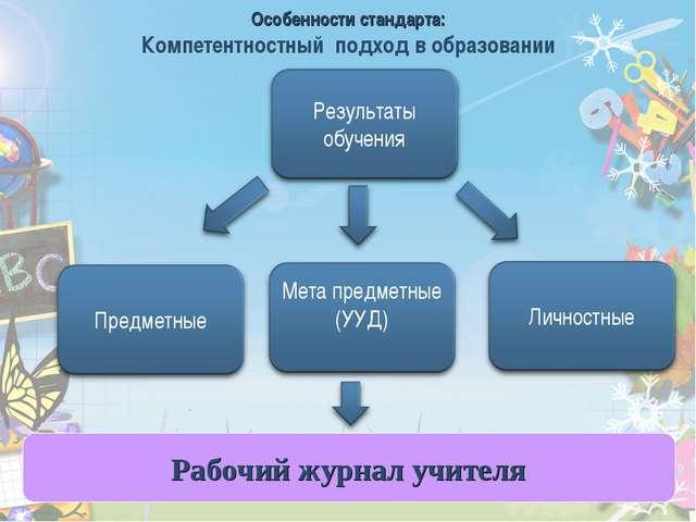 * Рабочий журнал учителя Особенности стандарта: Компетентностный подход в обр...