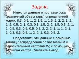 Задача Имеются данные о поставке сока (различный объем тары) определенной м