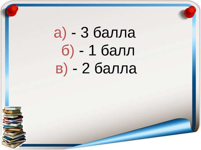 а) - 3 балла б) - 1 балл в) - 2 балла