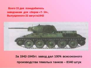 Всего 33 дня понадобилось заводчанам для сборки «Т- 34», Выпущенного 22 авгу