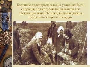 Большим подспорьем в таких условиях были огороды, под которые были заняты все
