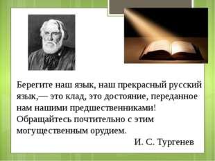 Берегите наш язык, наш прекрасный русский язык,— это клад, это достояние, пер