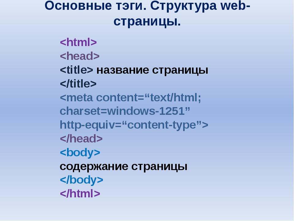 Основные тэги. Структура web-страницы.    название страницы     содержание ст...