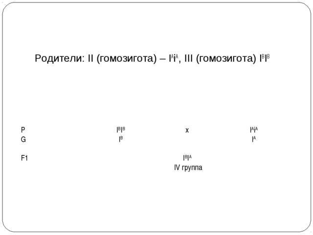 Родители: II (гомозигота) – IAiА, III (гомозигота) IBIB PIBIBxIAiА GIB...