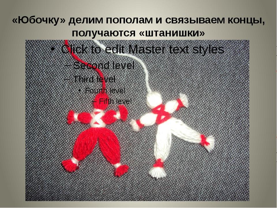 «Юбочку» делим пополам и связываем концы, получаются «штанишки»