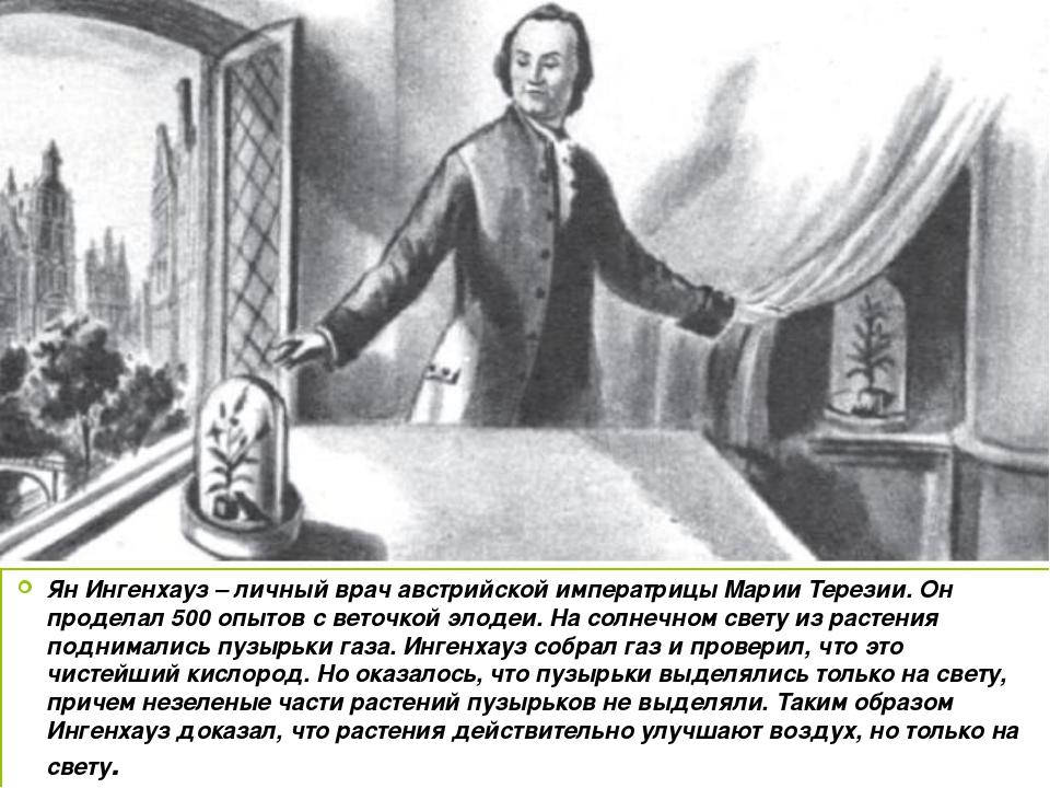 Ян Ингенхауз – личный врач австрийской императрицы Марии Терезии. Он проделал...