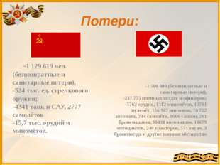Потери: -1129619 чел.(безвозвратные и санитарные потери), -524 тыс. ед. ст