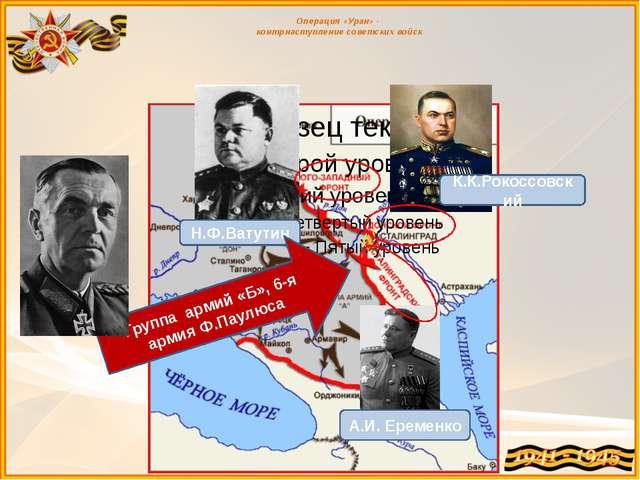 Операция «Уран» - контрнаступление советских войск Н.Ф.Ватутин К.К.Рокоссовс...