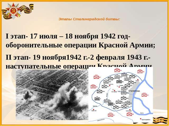 Этапы Сталинградской битвы: I этап- 17 июля – 18 ноября 1942 год- оборонител...