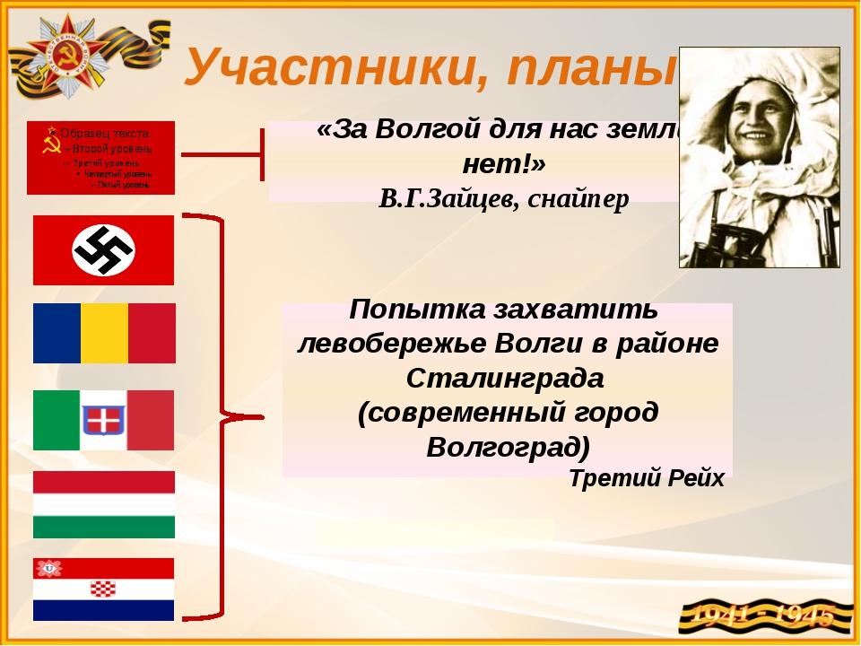Участники, планы «За Волгой для нас земли нет!» В.Г.Зайцев, снайпер Попытка...