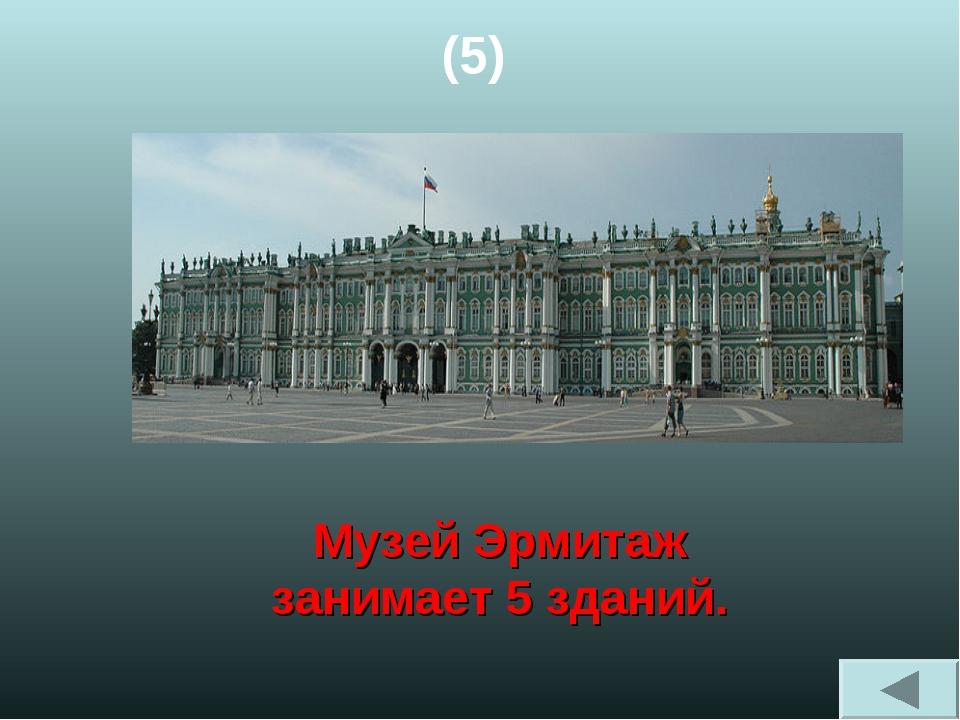 (5) Музей Эрмитаж занимает 5 зданий.