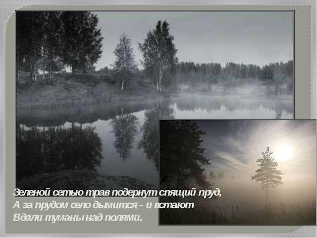 Зеленой сетью трав подернут спящий пруд, А за прудом село дымится - и встают...