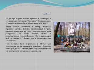 Смерть Есенина 24 декабря Сергей Есенин приехал в Ленинград и остановился в